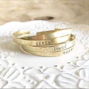 Gold Brass Stamped Cuff Bracelet